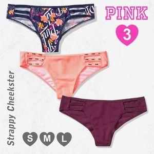 3 PINK VS VICTORIA'S SECRET Cheekster Panties